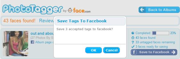 PhotoTagger-save to facebook